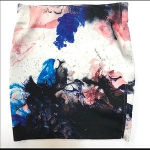 Zara NWOT Scuba Bodycon Ink Blot Skirt